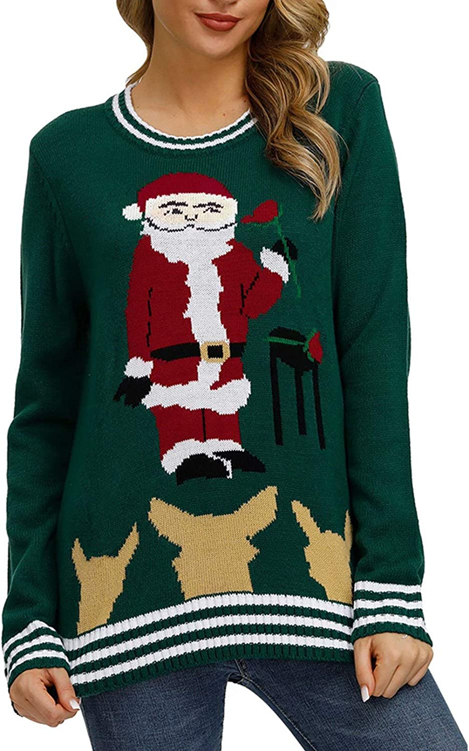 Linsery Women's Christmas Funny Patterned Knitted Crewneck Casual Pullover Sweater Chunky Warm Winter Pullover Outerwear