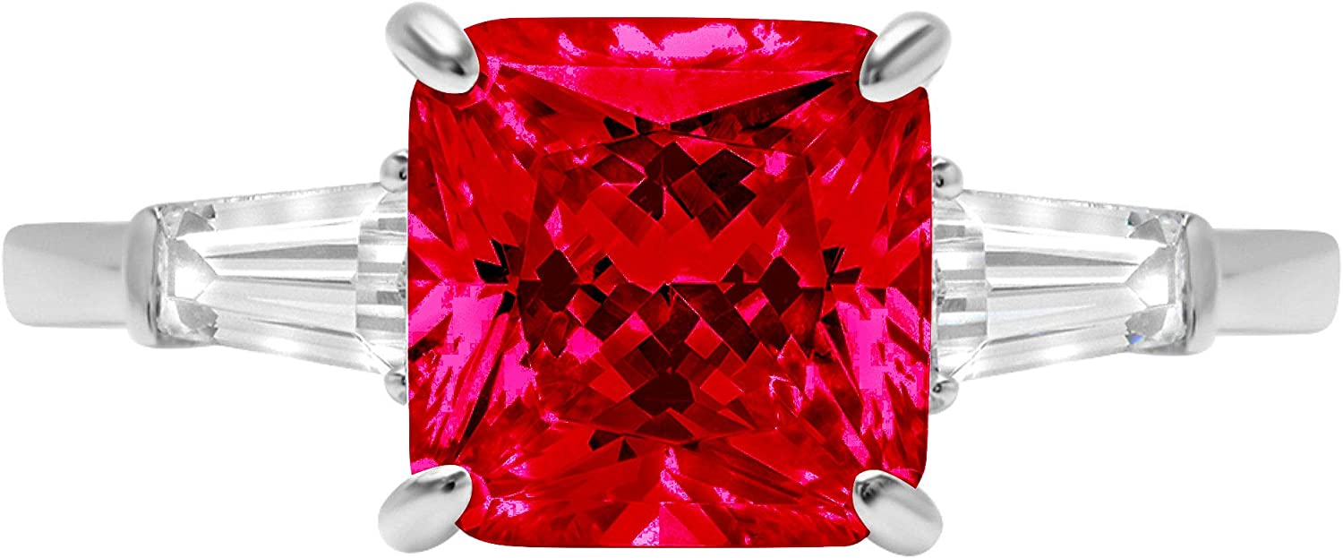 3.44ct Asscher Baguette cut 3 stone Solitaire with Accent Flawless Ideal VVS1 Simulated CZ Red Ruby Engagement Promise Statement Anniversary Bridal Wedding Designer Ring 14k White Gold