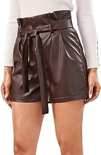 Milumia Women's Casual Belted Paperbag High Waist Zipper PU Letter Shorts