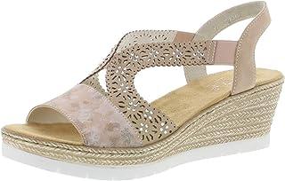 Rieker 61916 Femme Sandales compensées,Chaussures d'été,Confortable,Plat