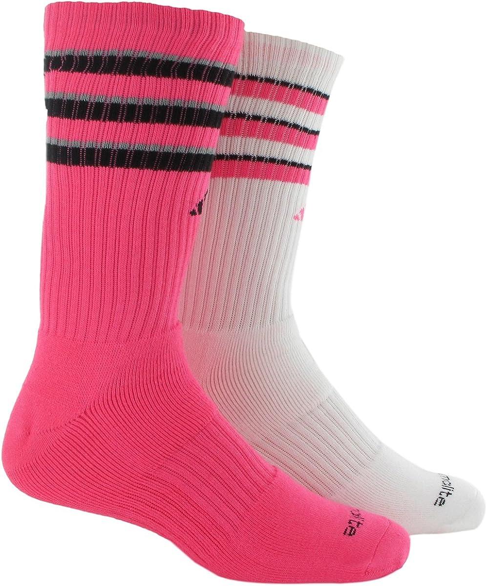 adidas Youth Boys Team 2-Pack Crew Socks, Solar Pink/Black/Light Onix/White