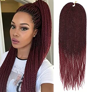 3Packs 18Inch 30Stands/Pack Senegalese Twist Crochet Braids Available for Black Women High Temperature Fiber Synthetic Braiding Hair Extensions (18