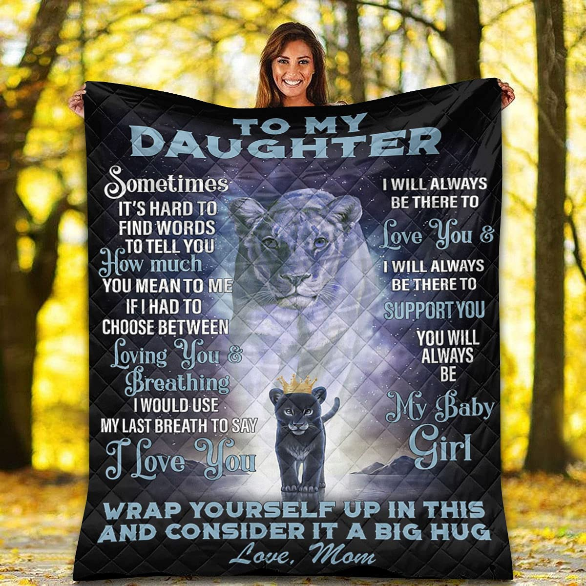 Lion Quilt Max 45% OFF - Mom Great interest Gift to Daughter I Love Queen You