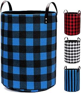 Medium Round Laundry Hamper Nursery Baskets Collapsible Storage Bin Dirty Clothes Basket Shelf Closet Organization Home Decor, Blue Black Grid