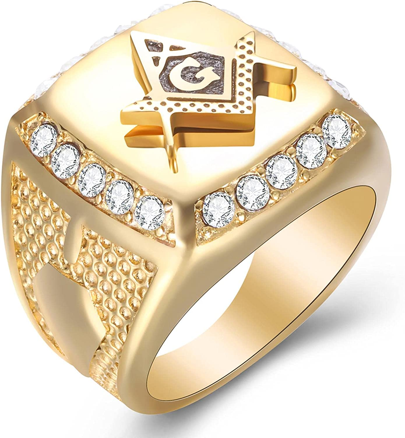 Crystal Men Max 67% OFF Rings With Freemason 316L Stainless Signet Mason Ste Max 64% OFF