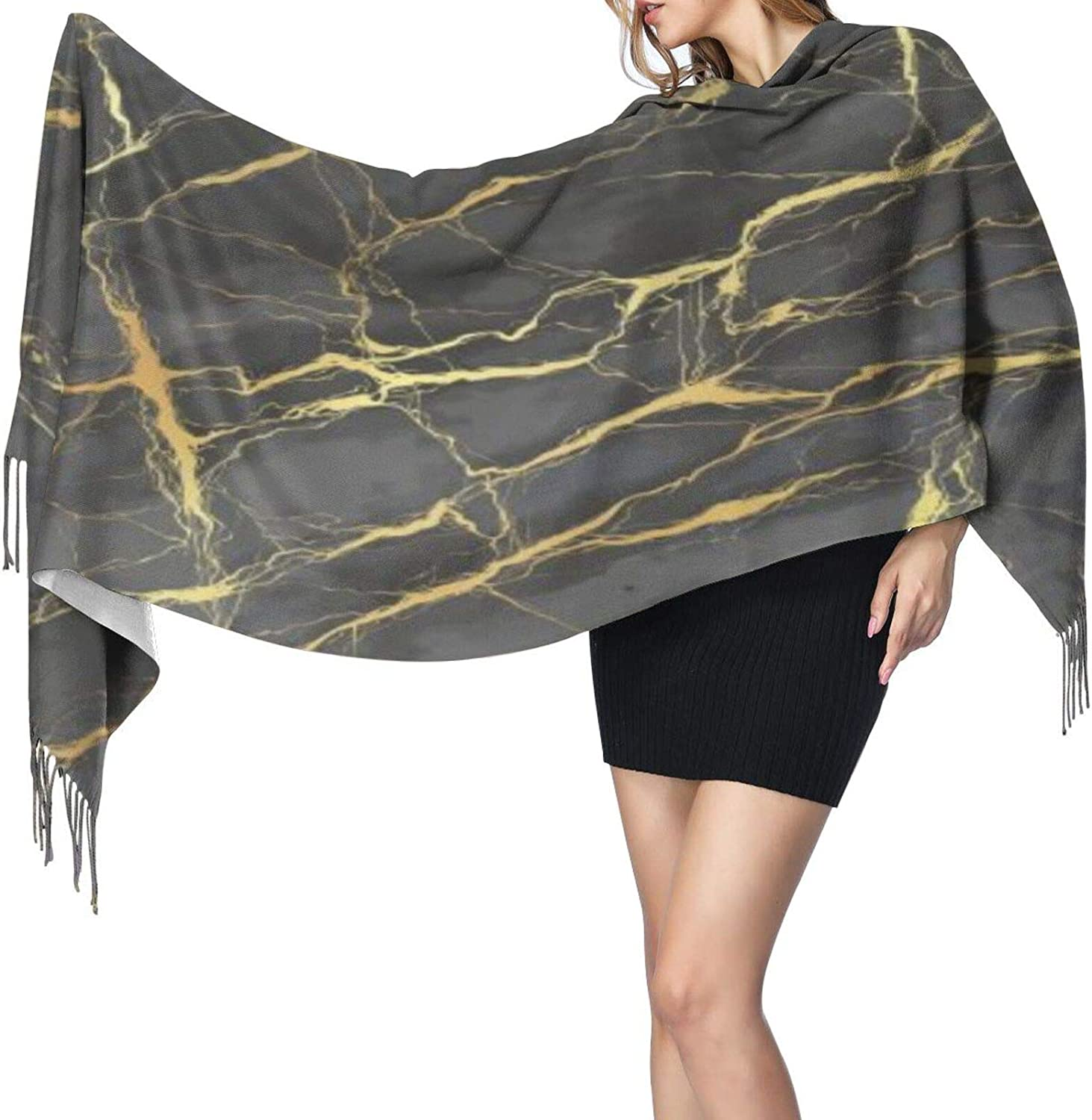Cashmere fringed scarf Marble golden texture winter extra large scarf