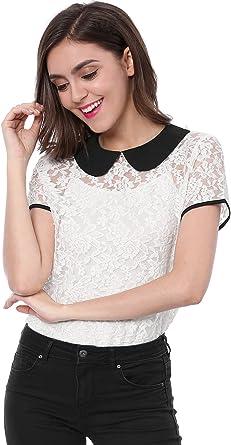 Allegra K Mujer Blusa Transparente Encaje Cuello Babero en Contraste