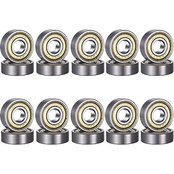 CESHMD - Cuscinetti a sfera mini 608zz, in metallo, doppia protezione 8 x 22 x 7 mm, 20 pezzi