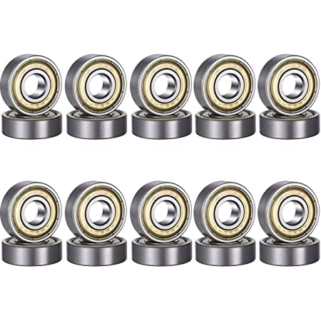 608zz Rodamientos de Bolas 8 x 22 x 7 mm, Metal Doble Revestimiento, Rodamientos Skateboard 20 Unidades