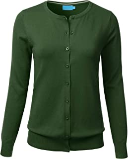 Women's Button Down Crew Neck Long Sleeve Soft Knit Cardigan Sweater (S-3X)