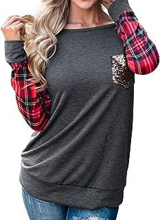 Women O Neck Plaid Long Sleeve Front Pocket Thin Shirt Jersey Tops