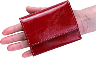 Itslife Slim Minimalist Front Pocket RFID Blocking Leather Wallets for Women (Red)