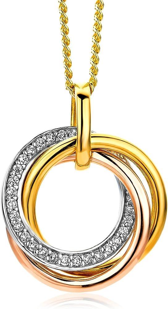 Miore ,collana da donna in argento sterling 925 placcato oro,con ciondolo e zirconi MSAE101N