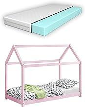 [en.casa] Barnsäng med madrass 80 x 160 cm trä hus design tallträ säng träsäng hussäng kall skummadrass Eko-Tex standard 1...