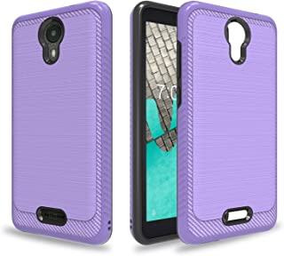 Ayoo for:Wiko Ride Case,Wiko Ride Phone Case,[Drop Protection] Brushed Texture Full-Body Shockproof Protective Cover Design for Wiko Ride-HLS Purple