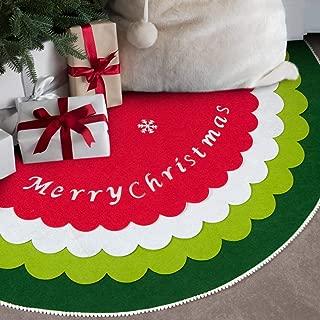 EDLDECCO Christmas Tree Skirt Felt 4 Layers DIY 48 inches Large X'Mas Holiday Party Decor Ornaments