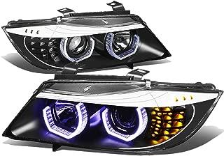 For BMW 3-Series Sedan Pair of Black Housing Amber Signal 3D U-Halo Blue LED Projector Headlight