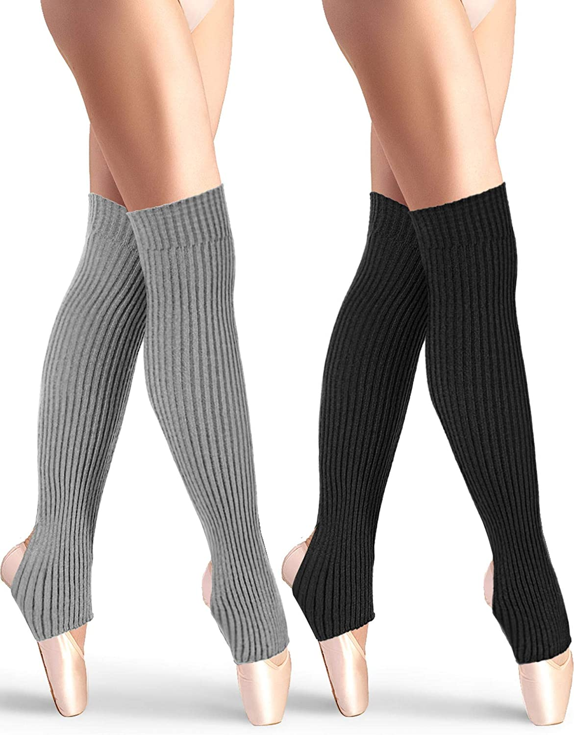 2 Pairs Stirrup Leg Warmers Straight over the Knee Socks 21.65 Inch for Women