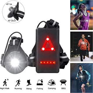 Night Running Lights,  USB Rechargeable Chest Light with 90° Adjustable Beam Angle,  500 Lumens Waterproof Ultra Bright Safety Warning Lamp with Reflective Straps for Runners Joggers Camping Hiking