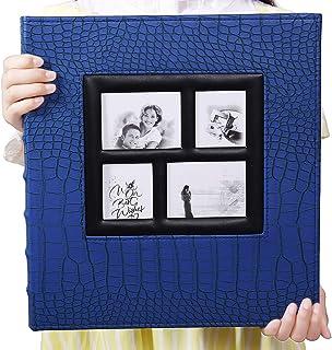 آلبوم عکس Viennarose برای 600 4x6 عکس جلد چرمی ظرفیت فوق العاده بزرگ برای تعطیلات عروسی خانوادگی تعطیلات کودک (آبی با الگوی تمساح و 600 جیب)