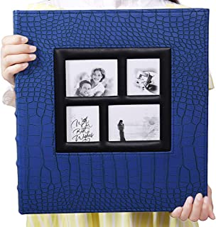Vienrose Photo Album for 600 4x6 Photos Leather Cover Extra Large Capacity for Family Wedding Anniversary Baby Vacation (Blue with Crocodile Pattern & 600 Pockets)
