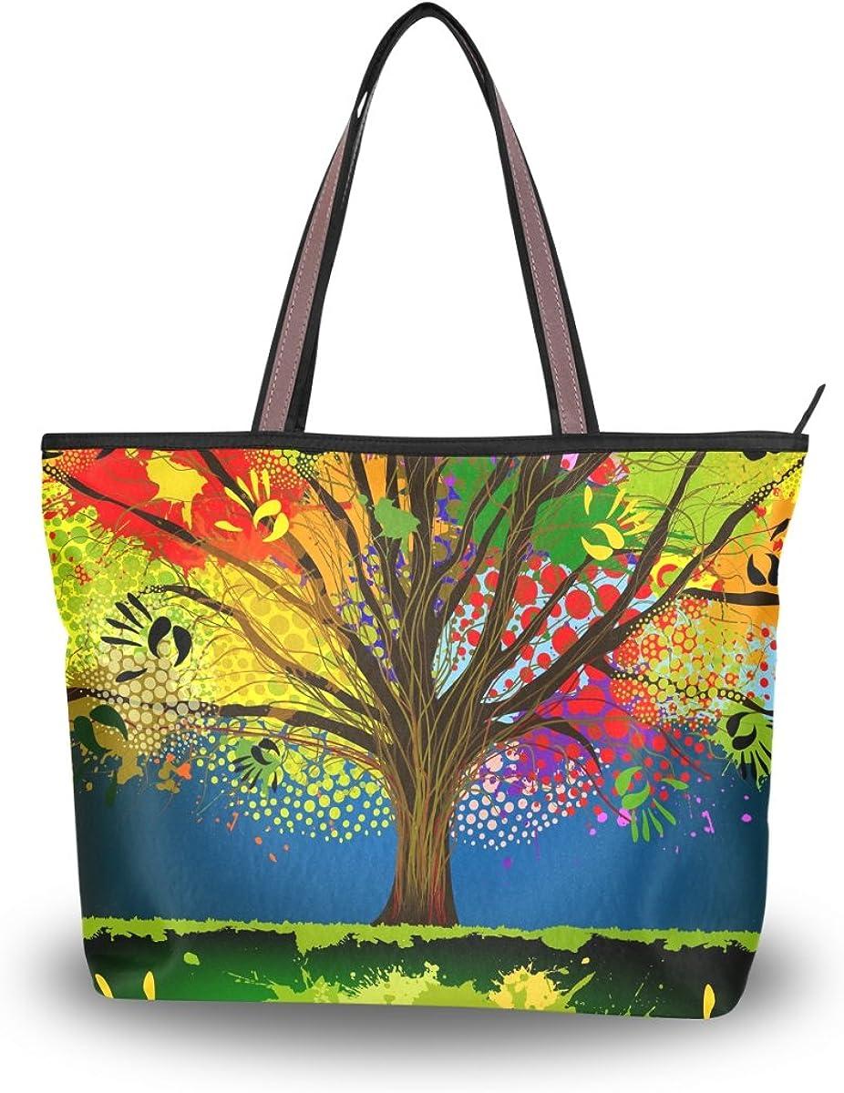 JSTEL Women Large Tote Top Handle Shoulder Bags Abstract Tree Patern Ladies Handbag