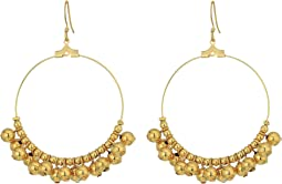 Gold Hoop/Polished Gold Bead Fishhook Ear Earrings
