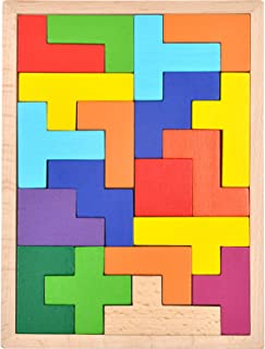 GYBBER&MUMU Wooden Tetris Puzzle Colorful Tangram Color and Shape Jigsaw Puzzle Developmental Learning Toys