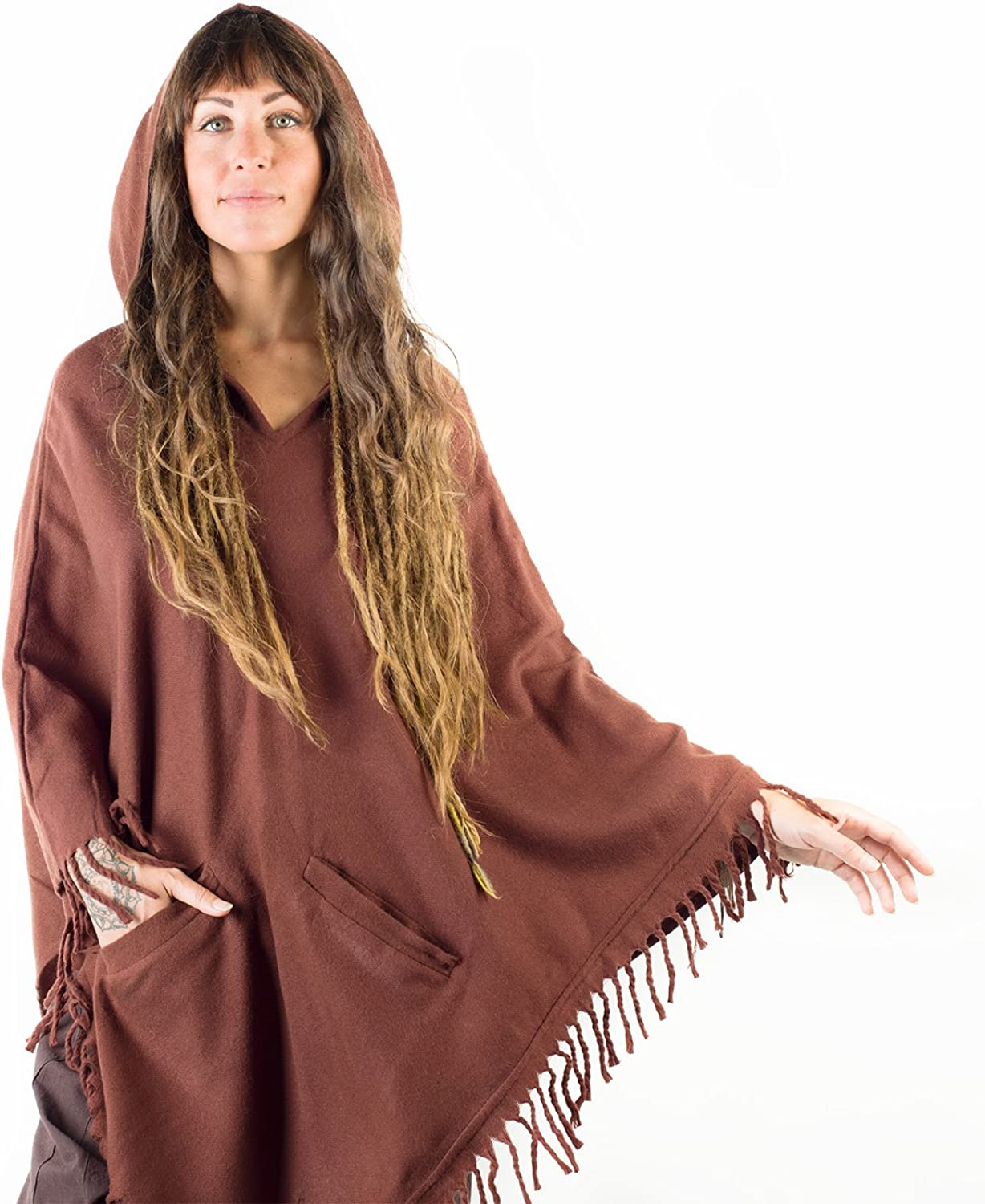 AJJAYA Womens Poncho Simply Brown Handmade Cashmere Wool with Large Hood and Pockets