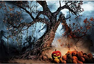 Haoyiyi 7x5ft All Saint's Day Backdrop Background Pumpkin Rip Purple Twisted Terror Tree Photography Trick or Treat Home Decor Artistic Portrait Activity Video Drop Photosoot Supplies
