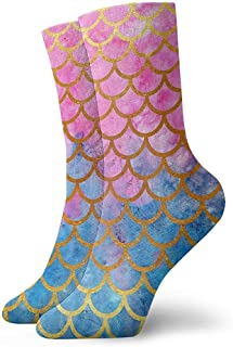 Dydan Tne, Sirena Acuarela Oro Rosa Escamas de Pescado Calcetines de Vestir Calcetines Divertidos Calcetines Locos Calcetines Casuales para niñas Niños