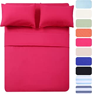 4 Piece Bed Sheet Set (Full,Hot Pink) 1 Flat Sheet,1 Fitted Sheet and 2 Pillow Cases,100% Super Soft Brushed Microfiber 1800 Luxury Bedding,Deep Pockets &Wrinkle,Fade Resistant by Best Season