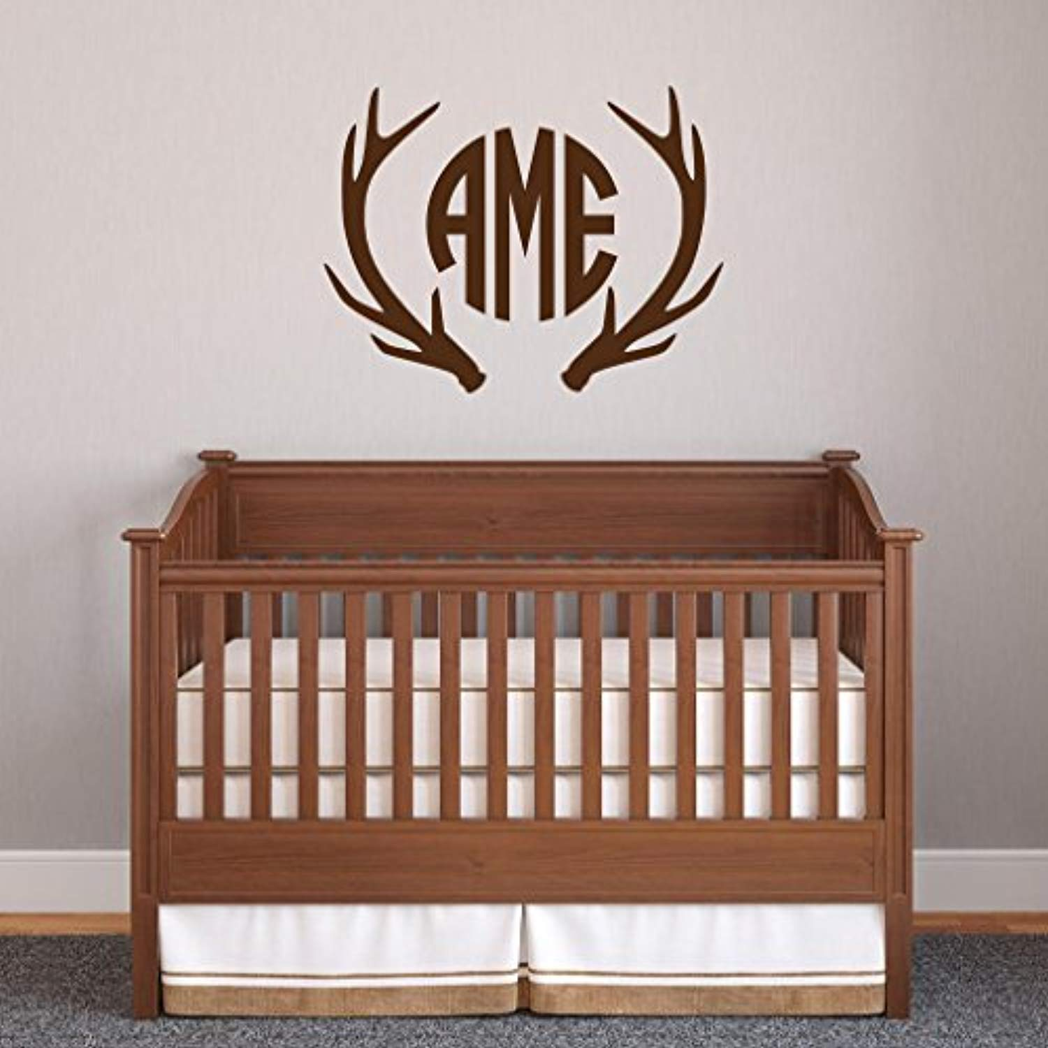 Amazon Com Deer Antlers Monogram Hunters Boys Bedroom Personalized Antlers Three Initial Circle Font Monogram Country Wall Decals Decor Vinyl Sticker Sk14722 W28 H22 Baby