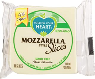 Follow Your Heart Dairy Free, Soy Free, Gluten Free, Vegan Sliced Cheese Alternative 7 ounces (10 Slices) Pack of 12 (Mozzarella)