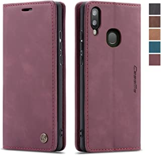 Samsung Galaxy A20/A30/M10S Wallet Case Cover, Magnetic Stand Flip Protective Cover Leather Flip Cover Durable Shockproof Protective Cover for Samsung Galaxy A20/A30/M10S(Wine Red)