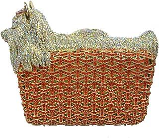 Womens Evening-Bag Diamante Crystal Clutches-Purse Ladies Luxury Chain-Bags Glitter Wedding Prom Horse Orange