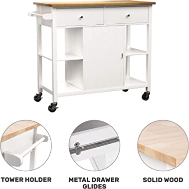 oneinmil Rolling Kitchen Island Cart on Wheels, with Wood Top, Storage and Drawers, Small Portable 40 Inch, White