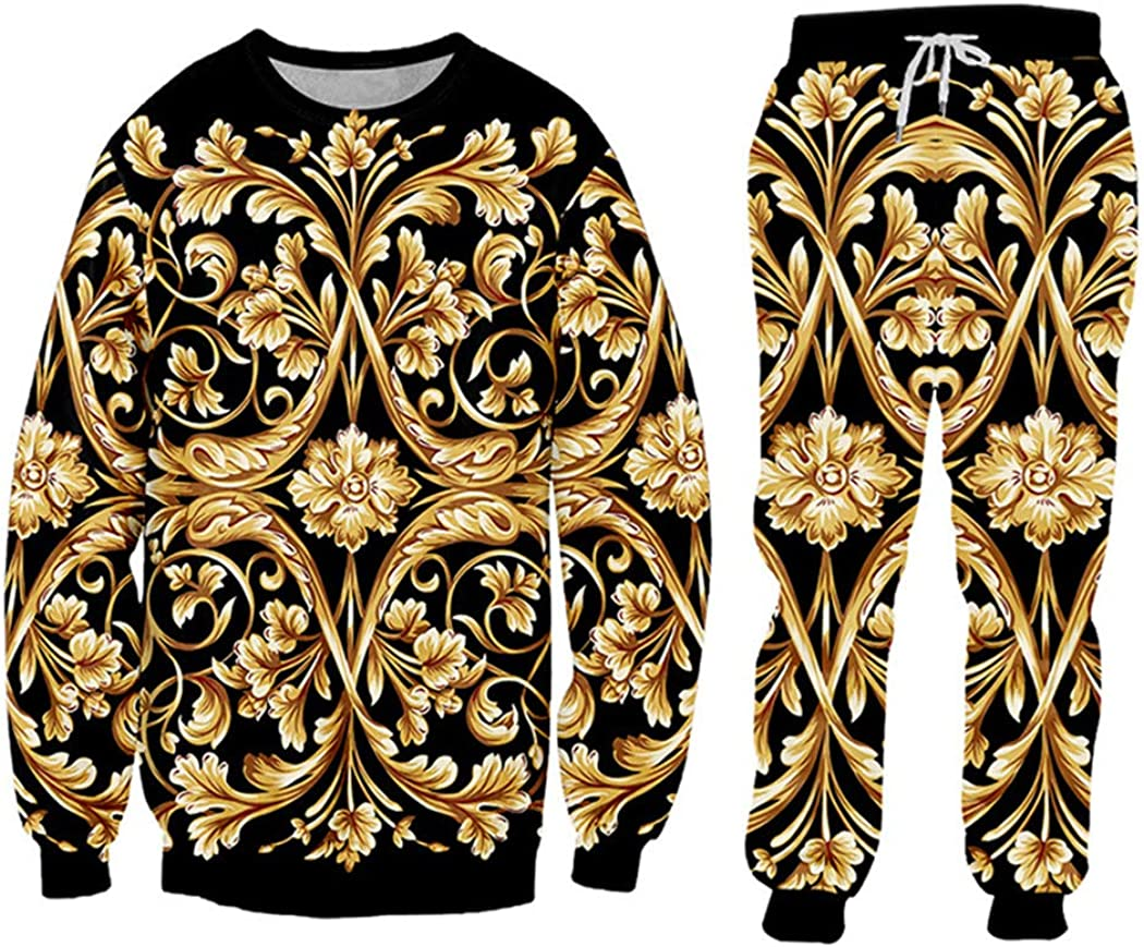 3D Print Gold Max 60% OFF Flower Luxury New sales Hoodies Jack Baroque Royal Tracksuit
