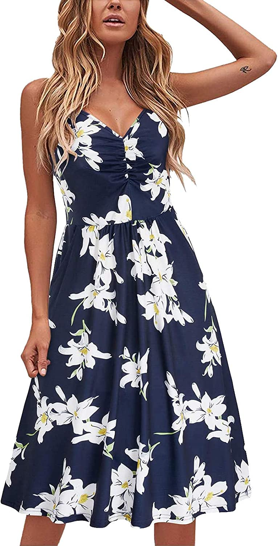 Jinjin2 Women's Print Dresses Strap Party Dress Comfort Midi Dress Summer Dress Print Sleeveless Casual