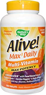 Natures Way, Alive Max Potency, Multi Vitamin, No Added Iron, 180 Tablets