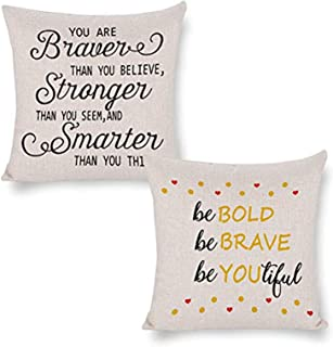 Jacksome Be Bold Be Brave Be Youtiful Inspirational Gift Pillow Cushion Cover Positive Saying Quotes Pick Me Up Gifts for ...