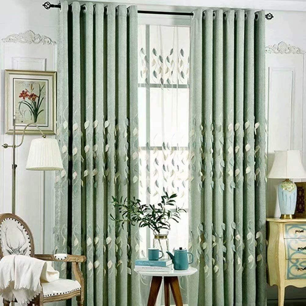 Leadtimes Green Leaves Room Darkening 96 トラスト Inch Embossed Curtains 期間限定で特別価格