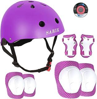Sarik Kids Bike Helmet Knee Elbow Pads Wrist Guard for Ages 3-8 Years Toddler Boys Girls Helmet Sport Protective Gear Adju...