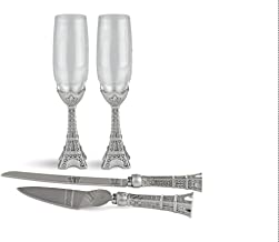 Fashioncraft Eiffel Tower Toasting Flutes and Cake Knife Server Set – Hand Painted Champagne Glasses and Cake Serving Set with Rhinestone Embellishments for Wedding, Anniversary and Paris Themed Party