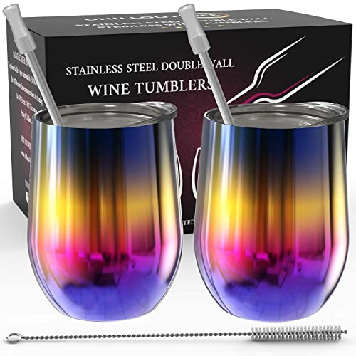 Stainless Steel Stemless Wine Tumbler 2 Pack Rainbow Color 12 oz - Double Wall Vacuum Insulated Wine Tumbler with Lids and Straws Set of Two for Coffee, Wine, Cocktails, Ice Cream