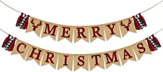 Merry Christmas Banner Burlap | Christmas Decorations | Vintage Christmas Banner for Mantle Fireplace | Black Red Plaid Letters Banner | Xmas Party Supplies Decorations | Holiday Decor