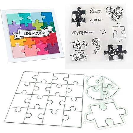 Matrices de découpe de scie sauteuse, pochoir en acier au carbone gaufrage Puzzle amour matrice de découpe avec timbres pour la fabrication de cartes bricolage artisanat Scrapbooking Album décor