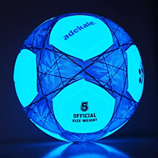 Sunsea Glow in The Dark Size 4, Size 5 Soccer Ball Light up Star Soccer Ball-Official Size and Weight Ball