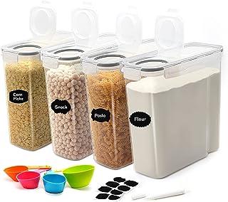 JUCJET 4L Boîtes de Conservation Alimentaire, Boîtes à Céréales Hermétiques, Boite de Rangement Cuisine sans BPA, Ensemble...