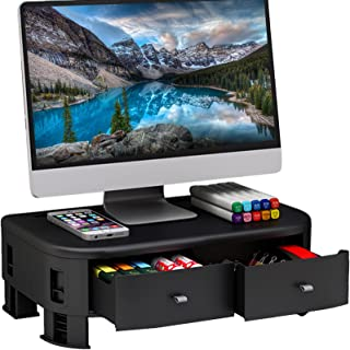 DK177 Monitor Riser Stand - with 2 Storage Drawers, 5 Height Adjustable Monitor Stand for Computer, Laptop, Tablet Holder...